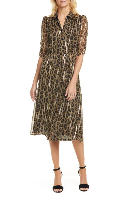 Ba&sh Dresses METALLIC LEOPARD PRINT SHIRTDRESS