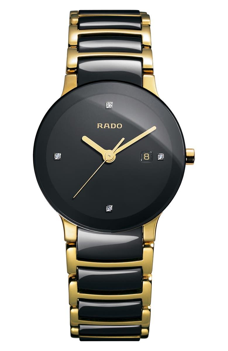 RADO Centrix Diamond Bracelet Watch, 28mm, Main, color, GOLD/ BLACK