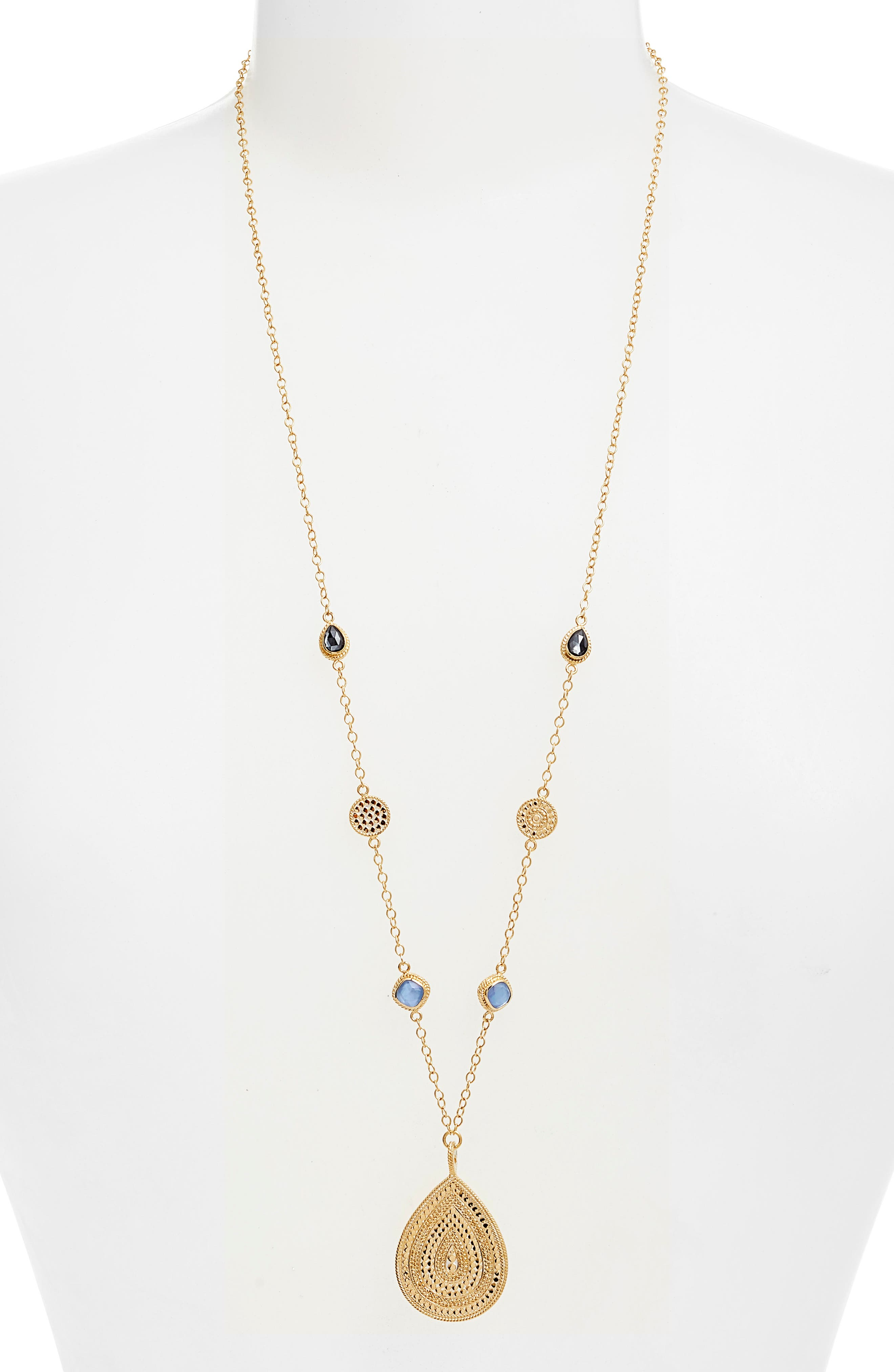 Semiprecious Station Long Pendant Necklace