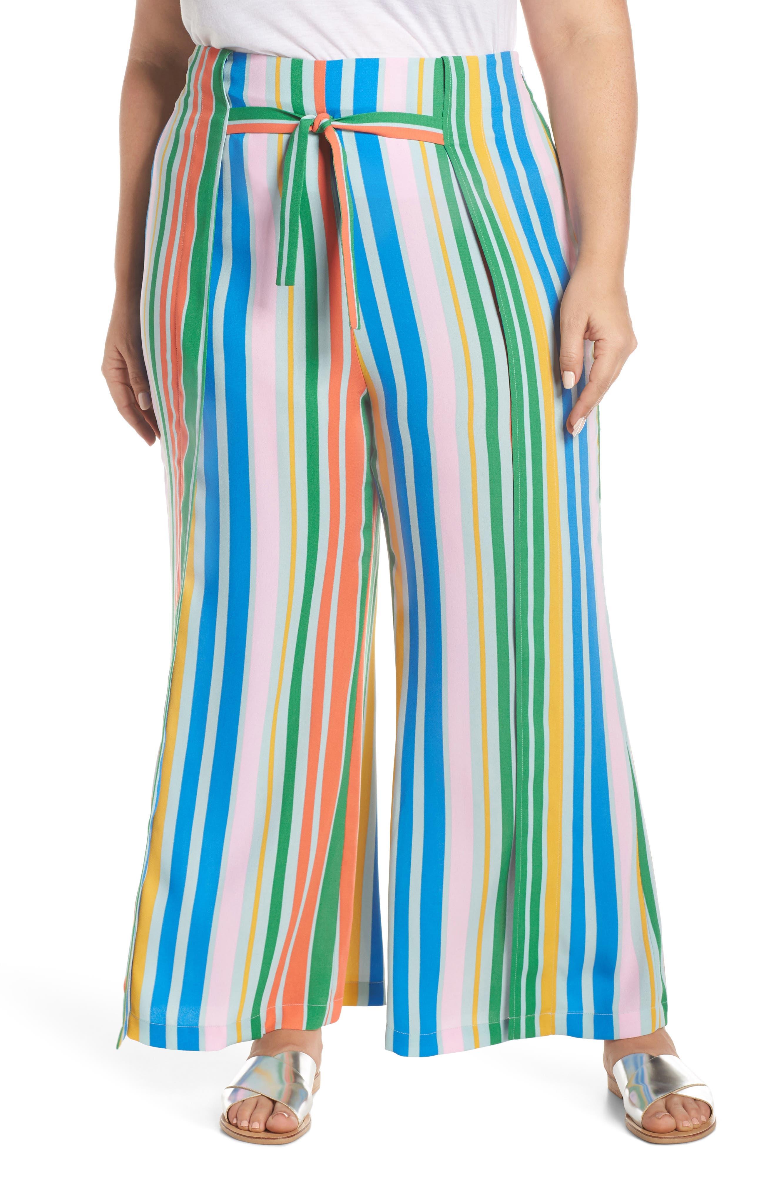 ,                             Tie Front Wide Leg Pants,                             Alternate thumbnail 4, color,                             BLUE FRENCH MULTI STRIPE