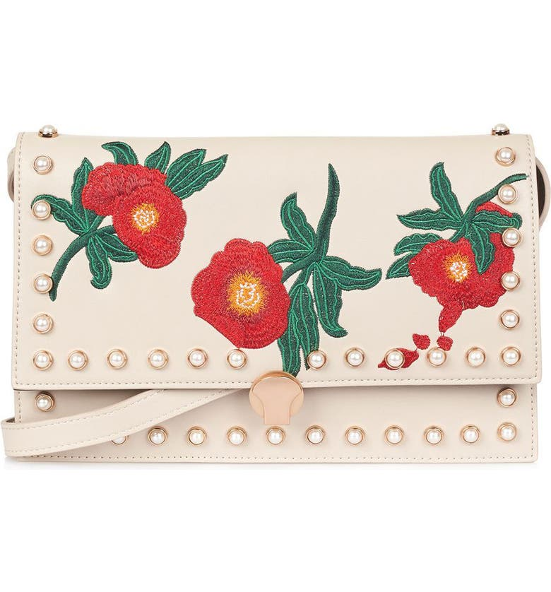 TOPSHOP Ocean Pearl & Embroidered Faux Leather Crossbody Bag, Main, color, 250