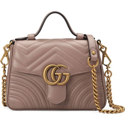 Gucci Marmont 2.0 Leather Top Handle Bag - Beige