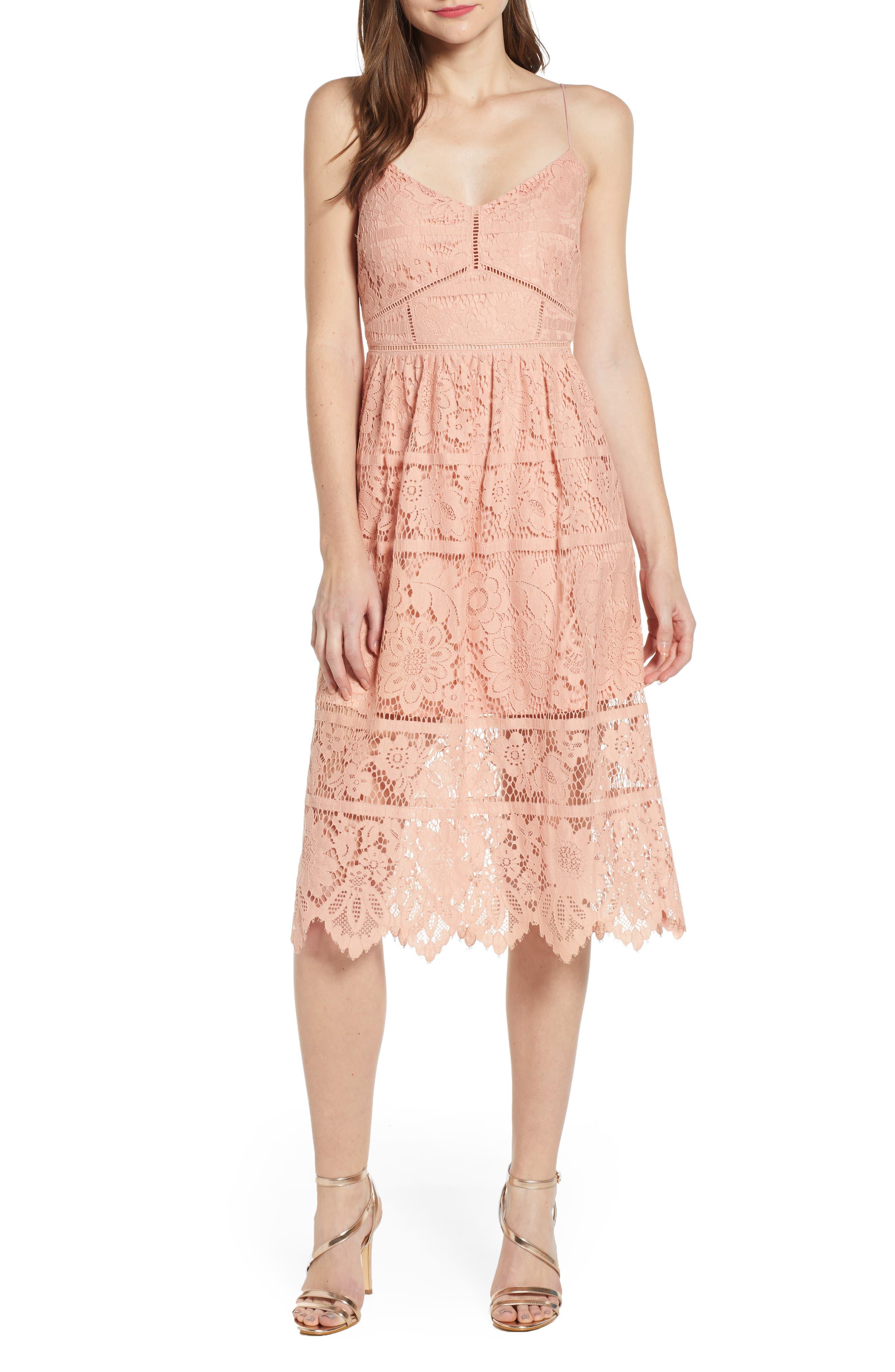 ,                             Cotton Blend Lace Midi Dress,                             Main thumbnail 1, color,                             PINK