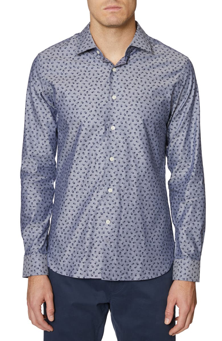 HICKEY FREEMAN Floral Print Regular Fit Shirt, Main, color, BLUE PRINT