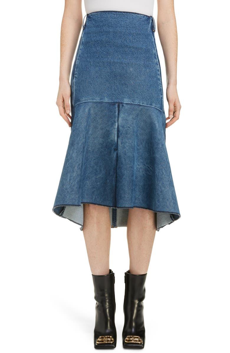 BALENCIAGA 3D Molded Flare Hem Denim Midi Skirt, Main, color, 9018-MEDIUM BLUE