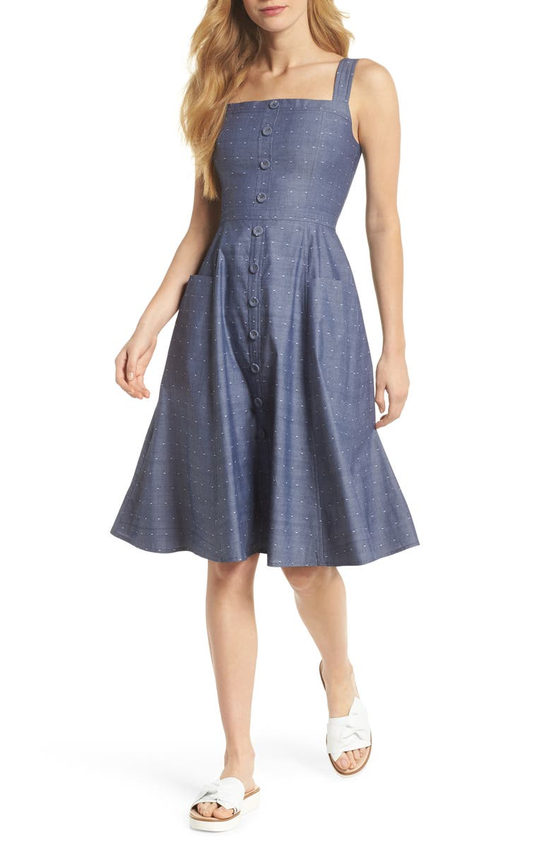 GAL MEETS GLAM COLLECTION Riley Dot Chambray Fit & Flare Sundress, Main, color, 465