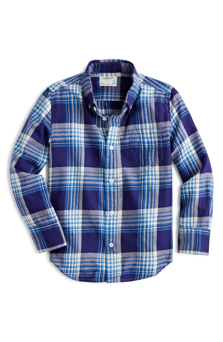 CREWCUTS BY J.CREW Long Sleeve Flannel Shirt, Main, color, BARONS PLAID BLUE