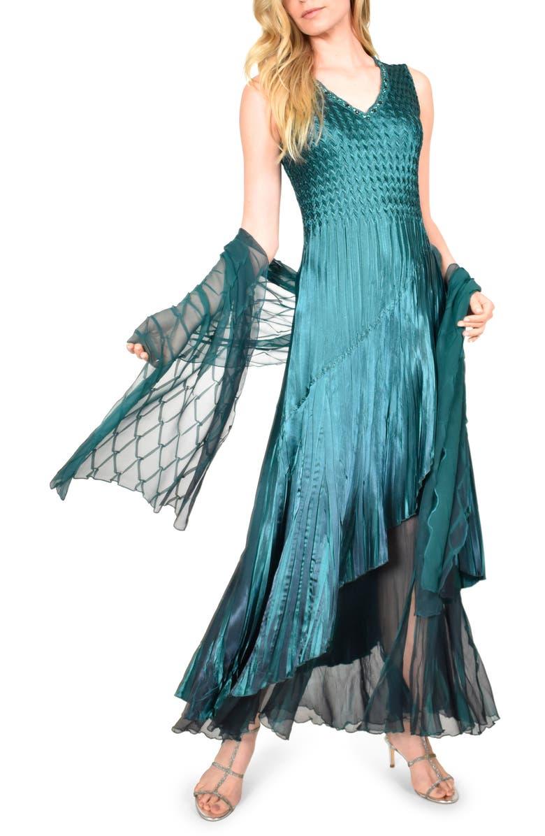 KOMAROV Chiffon Hem Charmeuse Gown with Shawl, Main, color, TRUE EMERALD BLUE OMBRE