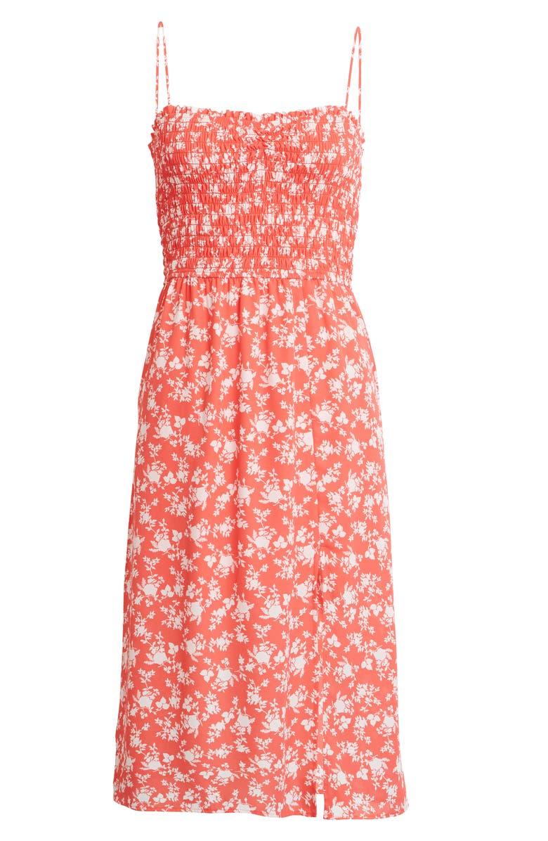 ROW A Sleeveless Smocked Midi Dress, Main, color, RED/ WHITE