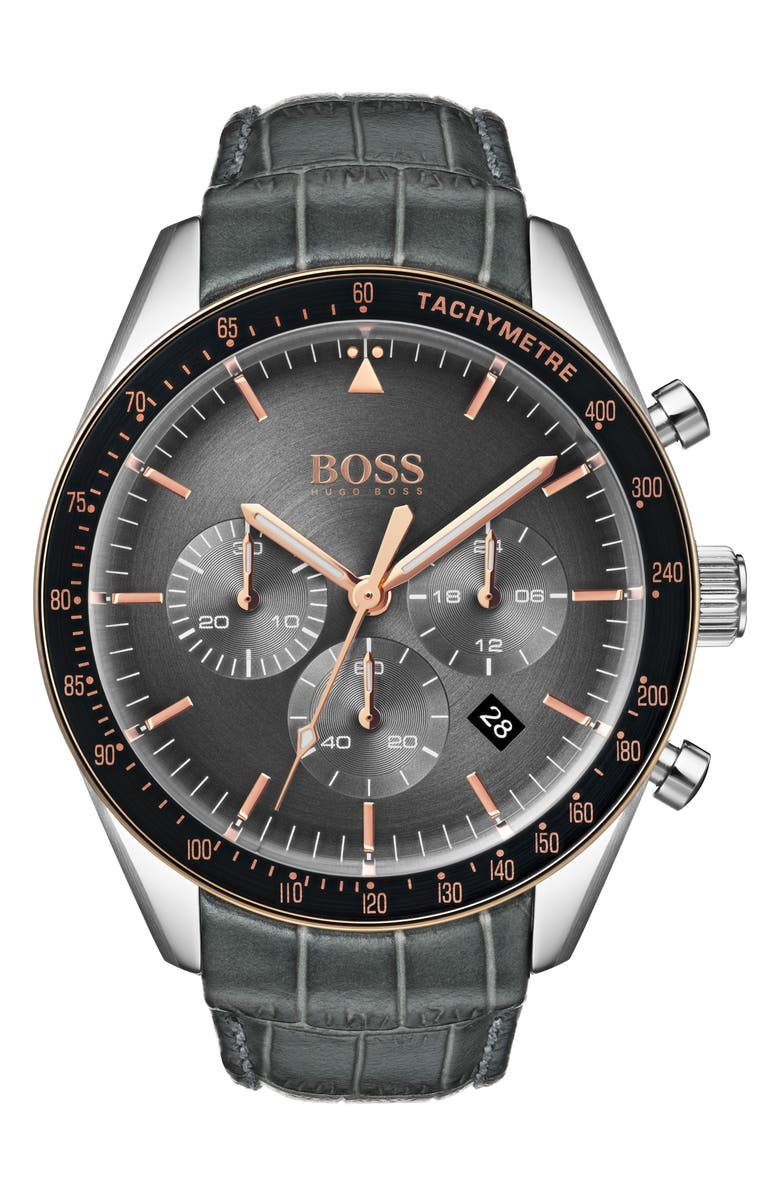 BOSS Trophy Chronograph Leather Strap Watch, 44mm, Main, color, GREY/ SILVER
