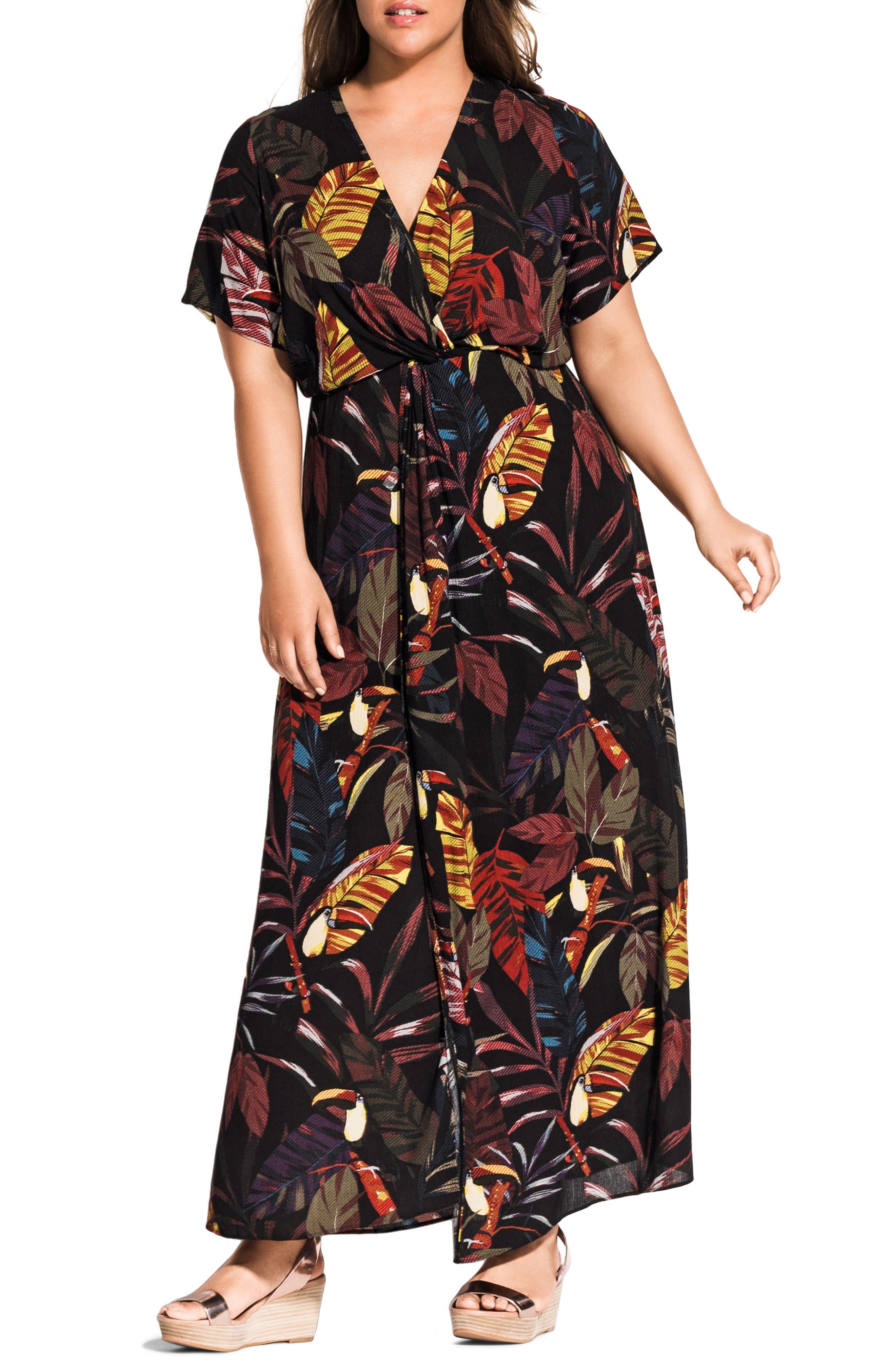 Plus Size City Chic Canopy Short Sleeve Maxi Dress, Black