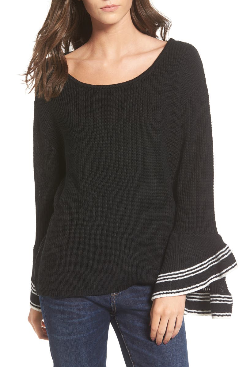 LOVE BY DESIGN Double Ruffle Sleeve Pullover, Main, color, 001
