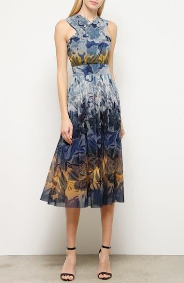 Dégradé Floral Mesh Midi Dress, video thumbnail