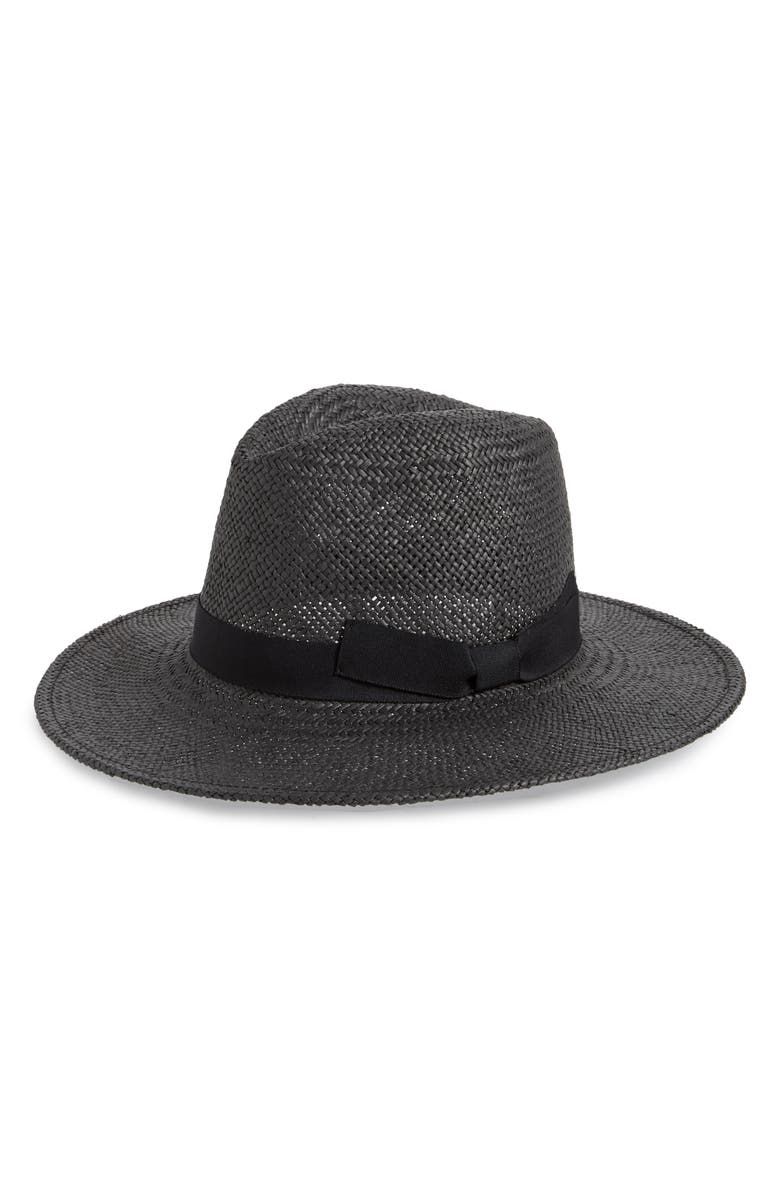 HALOGEN<SUP>®</SUP> Woven Straw Panama Hat, Main, color, 001