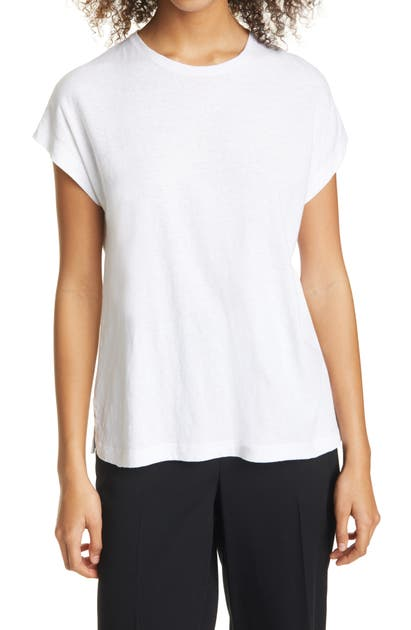 Vince RELAXED DOLMAN SLEEVE COTTON & LINEN TOP