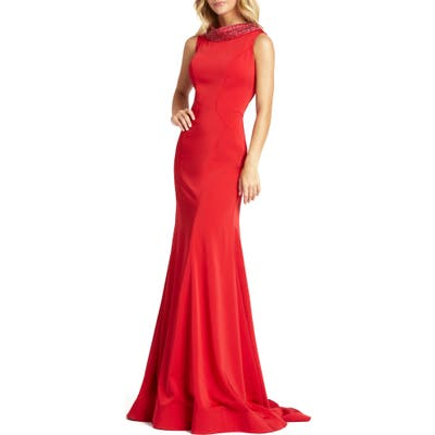MAC Duggal Embellished Cowl Neck Trumpet Gown, Red