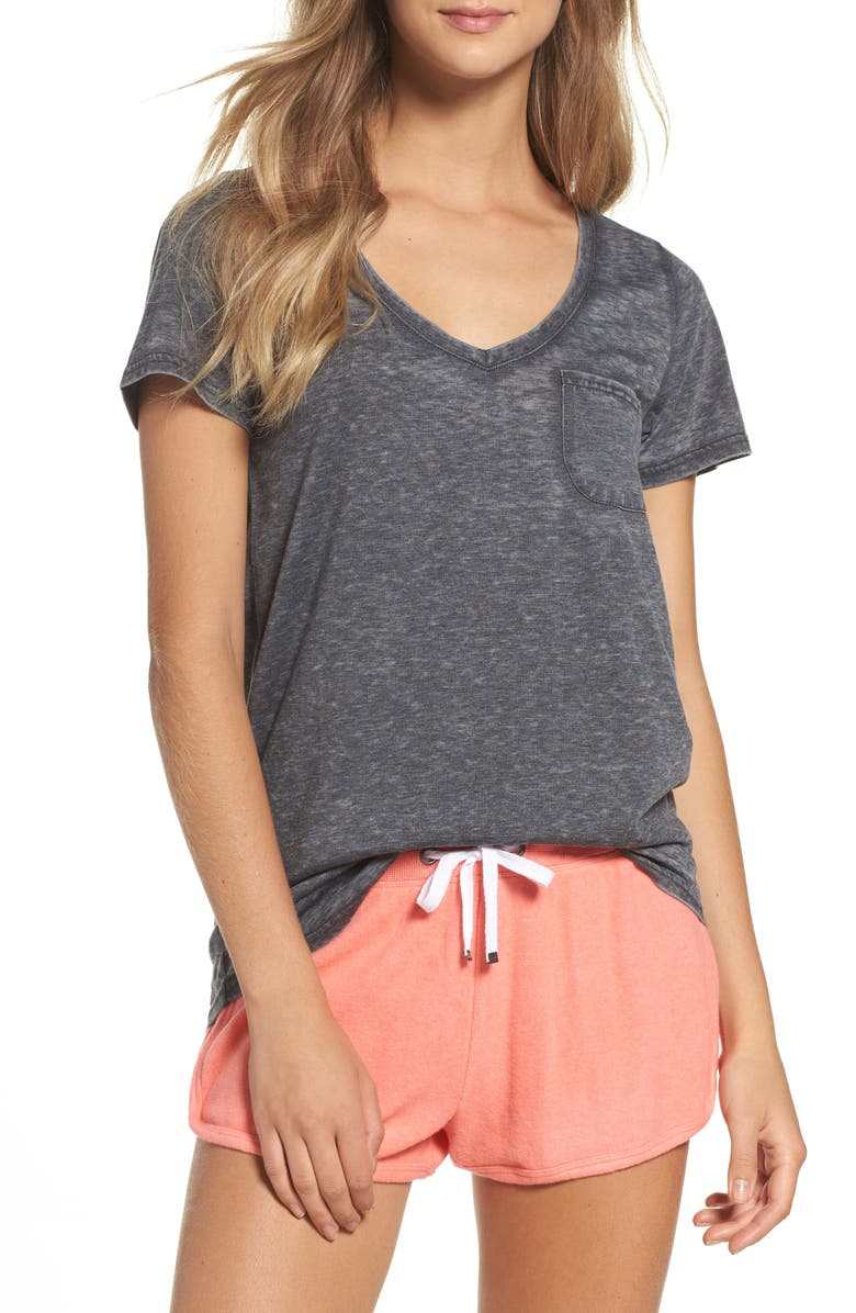 MAKE + MODEL 'Gotta Have It' V-Neck Tee, Main, color, CHARCOAL