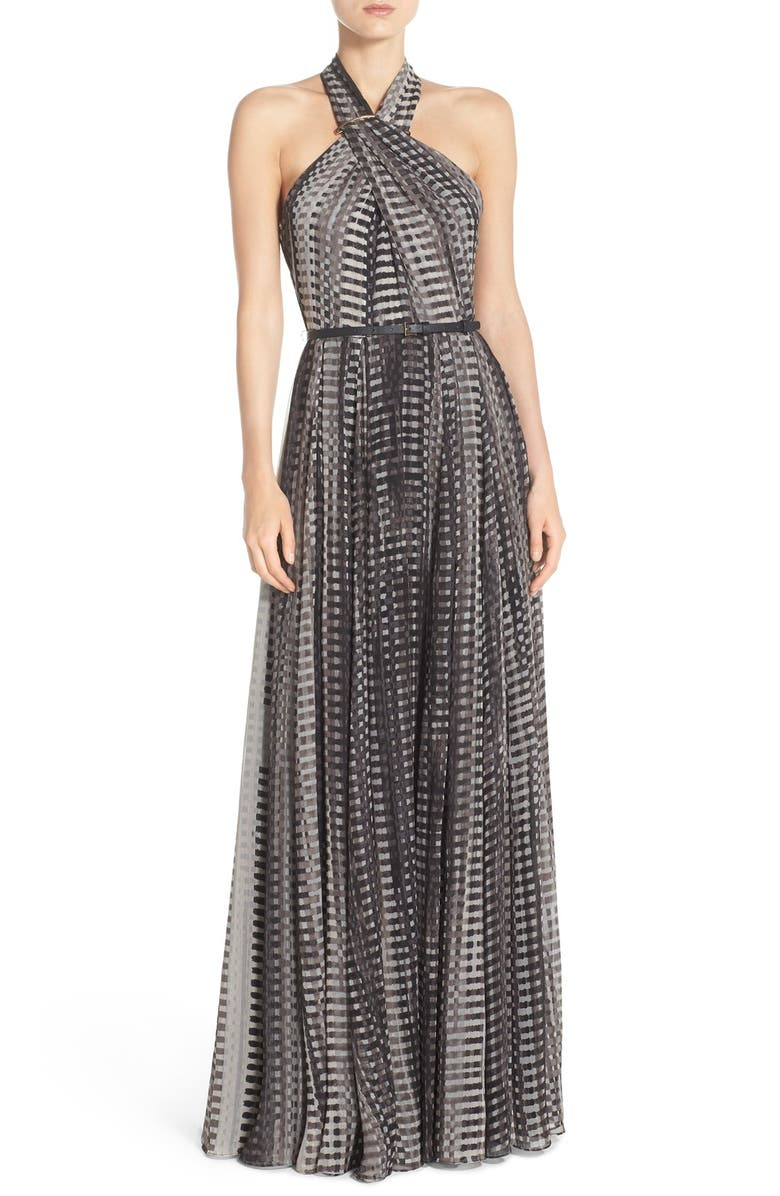 HALSTON HERITAGE Belted Print Crinkled Chiffon Fit & Flare Gown, Main, color, 001
