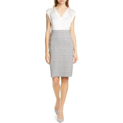 Tailored By Rebecca Taylor Check Plaid Sheath Dress, Grey