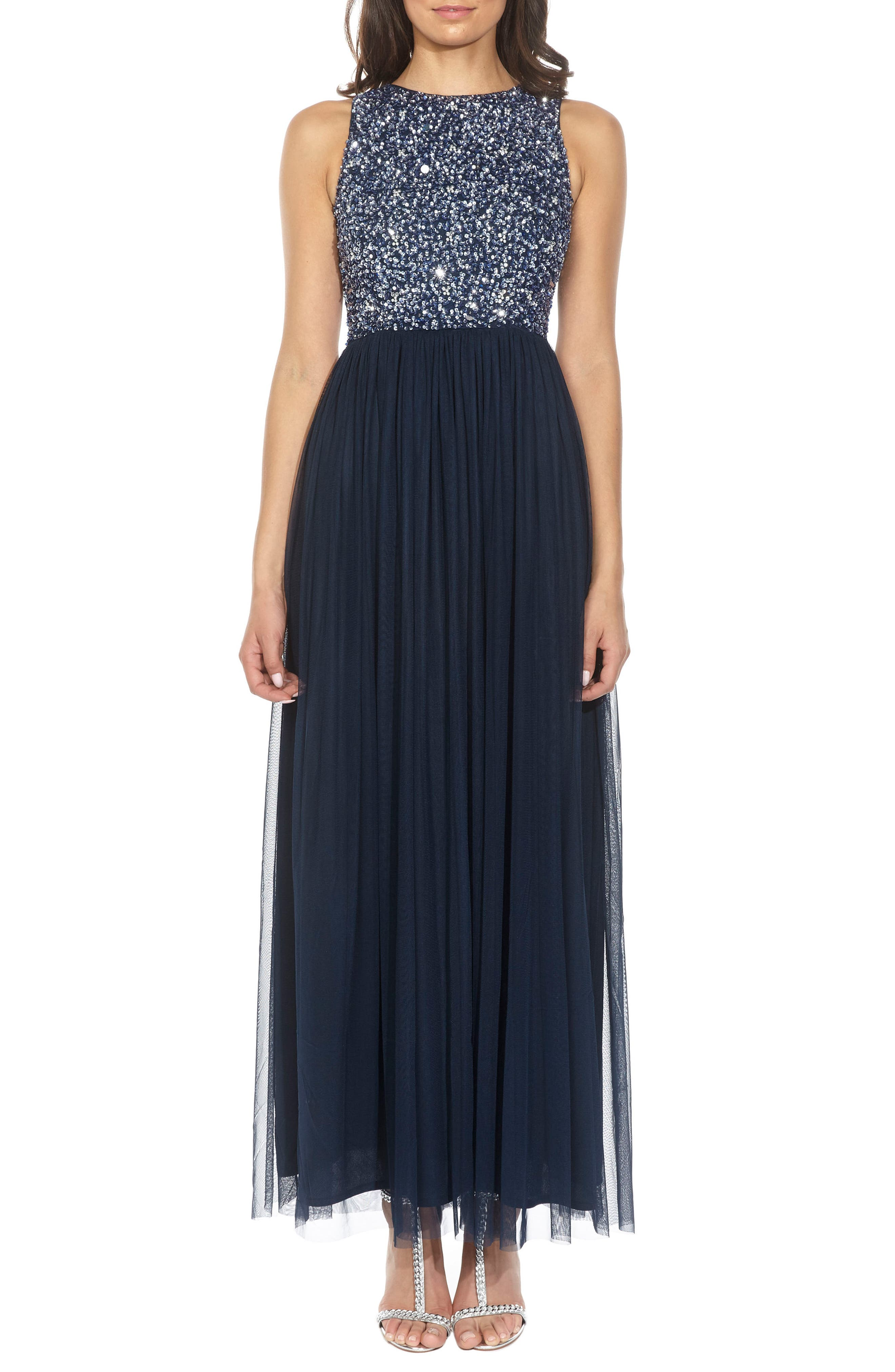 Lace & Beads Picasso Embellished Bodice Evening Dress, Blue