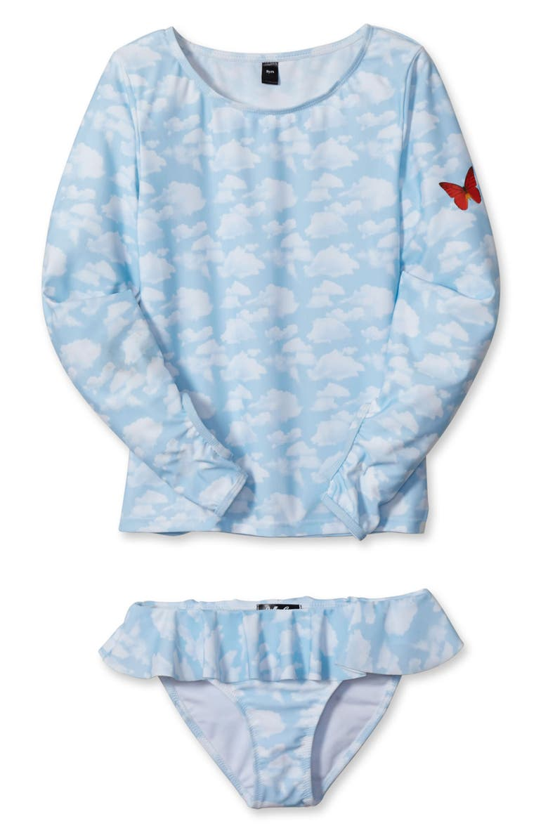 STELLA COVE Sky & Butterfly Two-Piece Swimsuit, Main, color, LIGHT BLUE