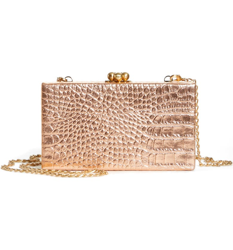 EDIE PARKER Jean Embossed Leather Box Clutch, Main, color, MAGMET