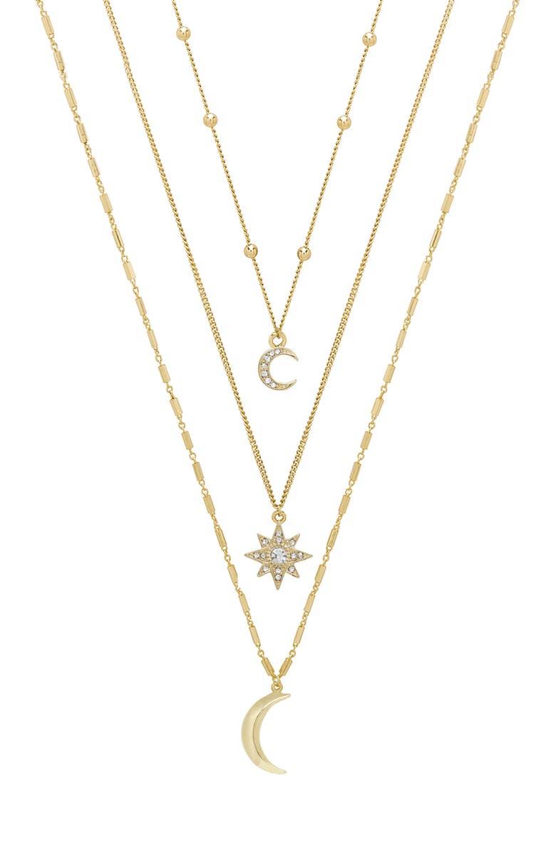 ETTIKA Set of 3 Celestial Pendant Necklaces, Main, color, GOLD