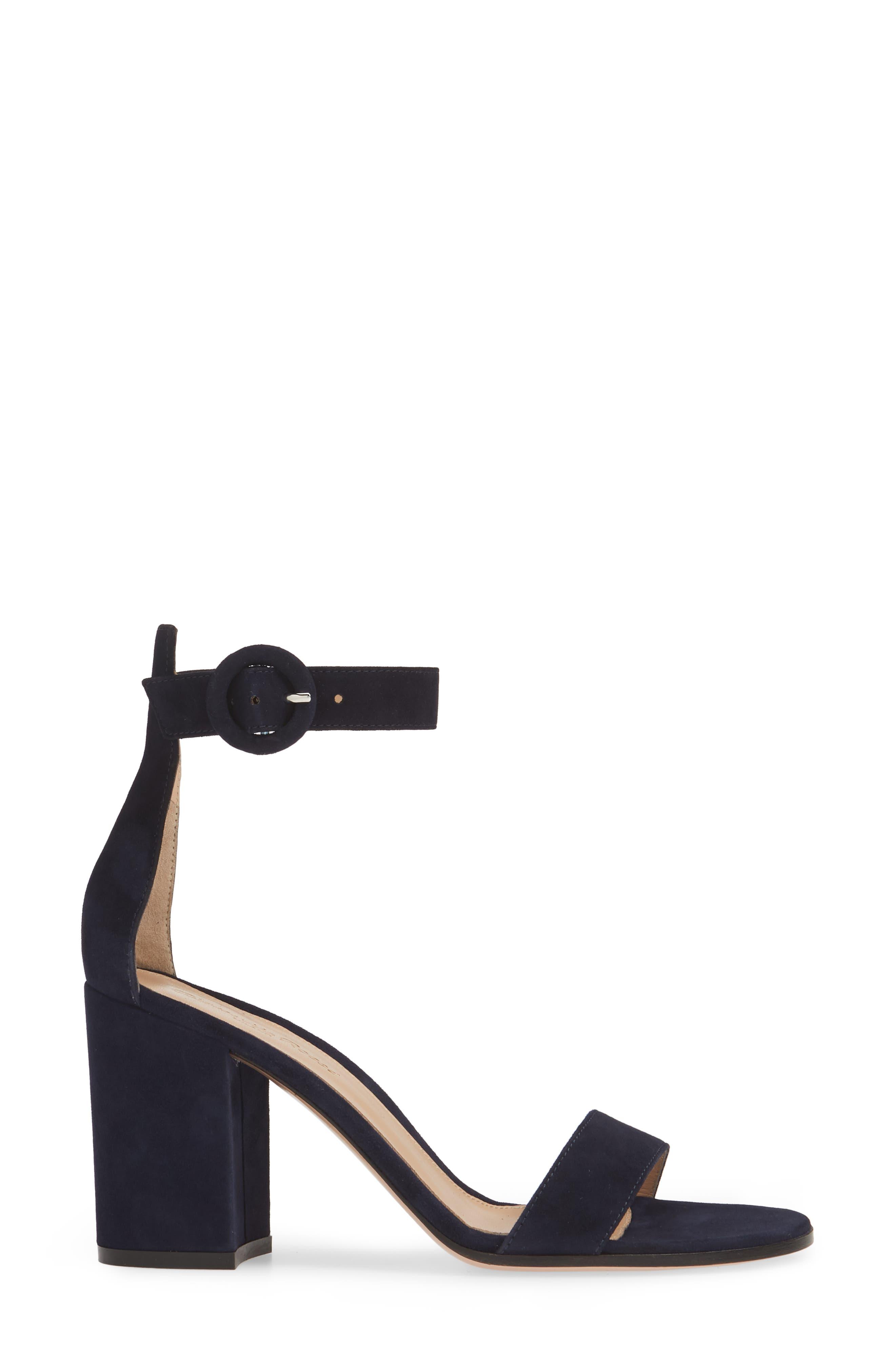 ,                             Block Heel Sandal,                             Alternate thumbnail 3, color,                             DENIM BLUE SUEDE