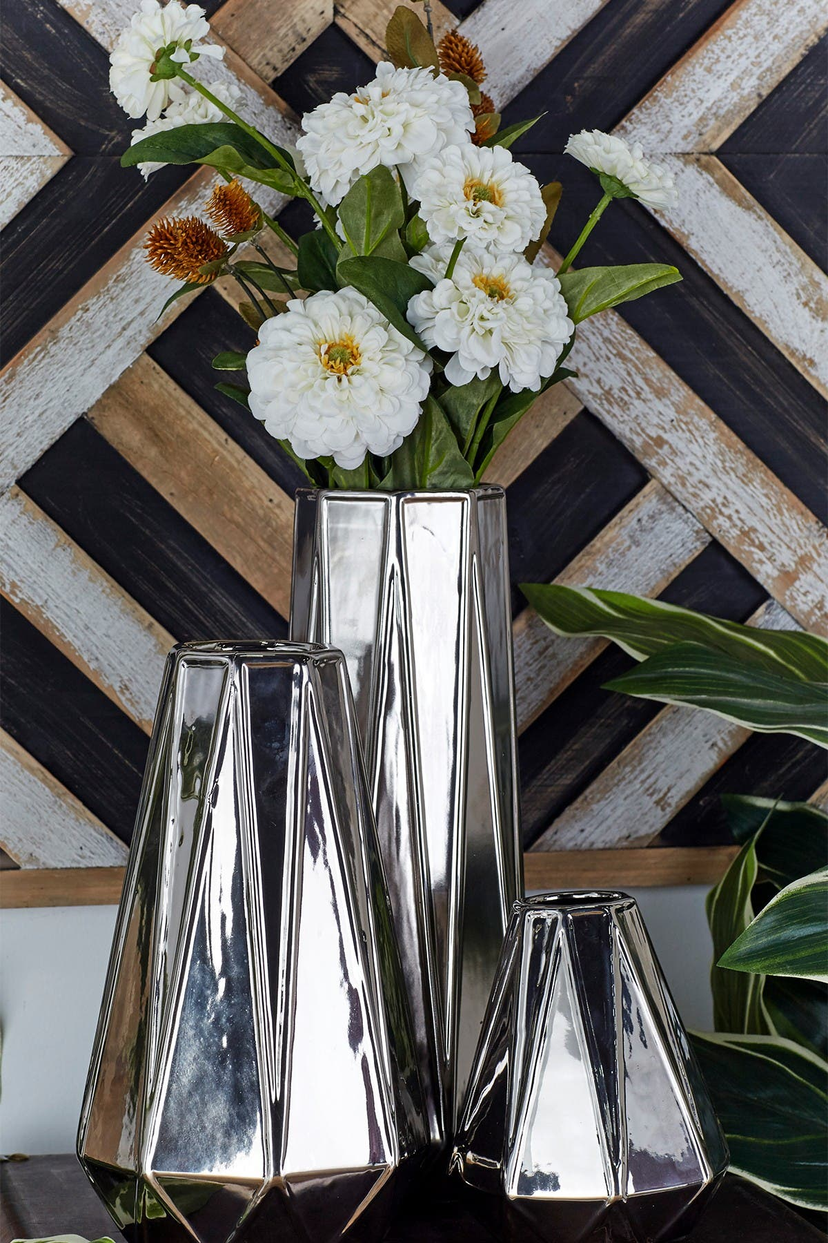 Image of CosmoLiving by Cosmopolitan Silver Glam Triangular Faceted Vase - Set of 3