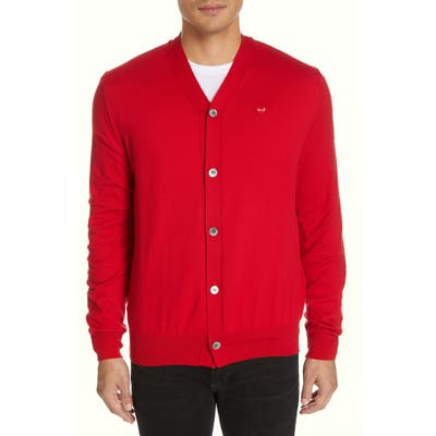 Comme Des Garcons Play V-Neck Cotton Cardigan, Red