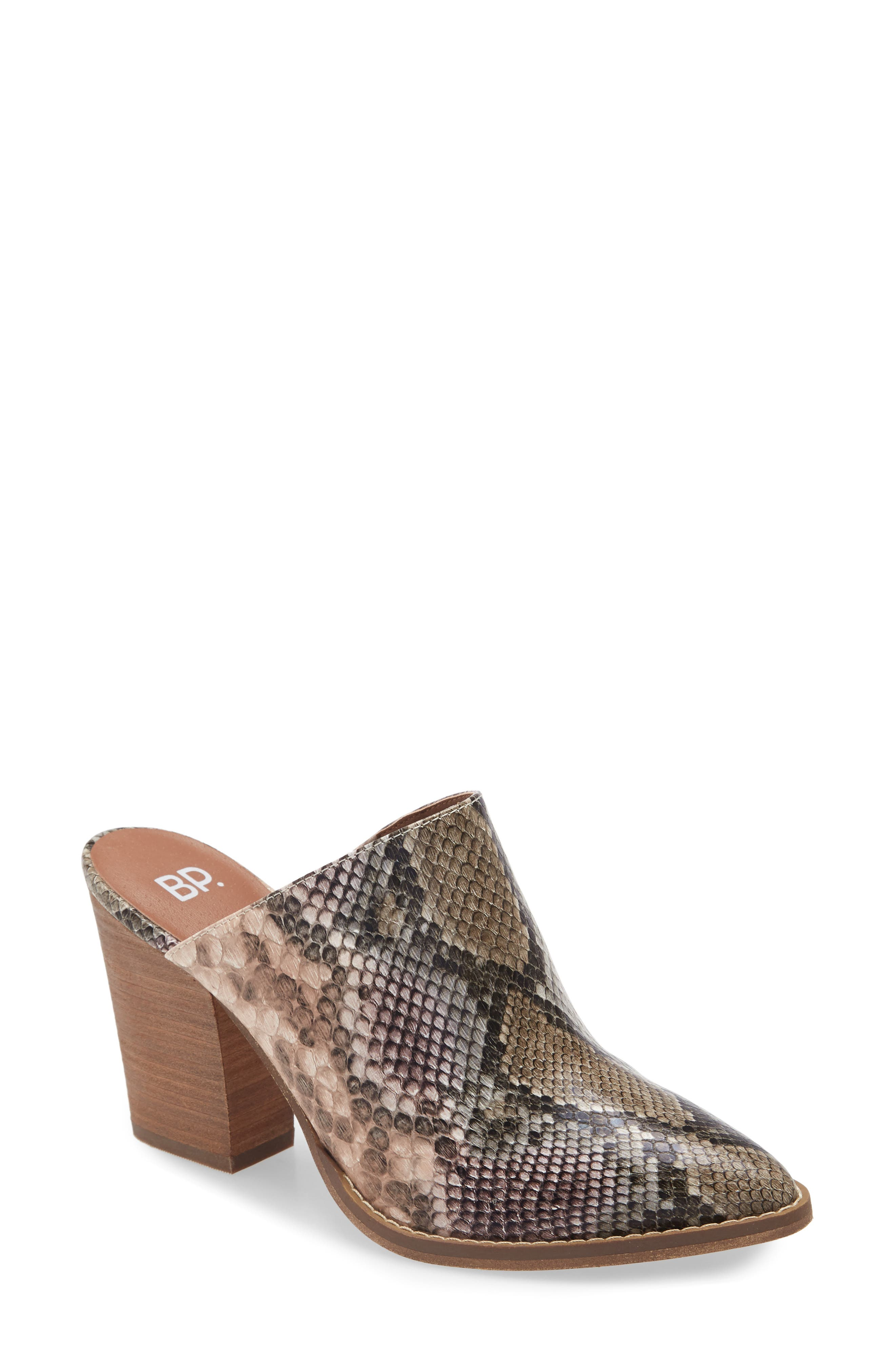 A snakeskin-embossed upper brings wildly chic style to a sophisticated mule with a gently pointed toe and a chunky stacked heel. Style Name: Bp. Maya Mule (Women). Style Number: 6055382. Available in stores.