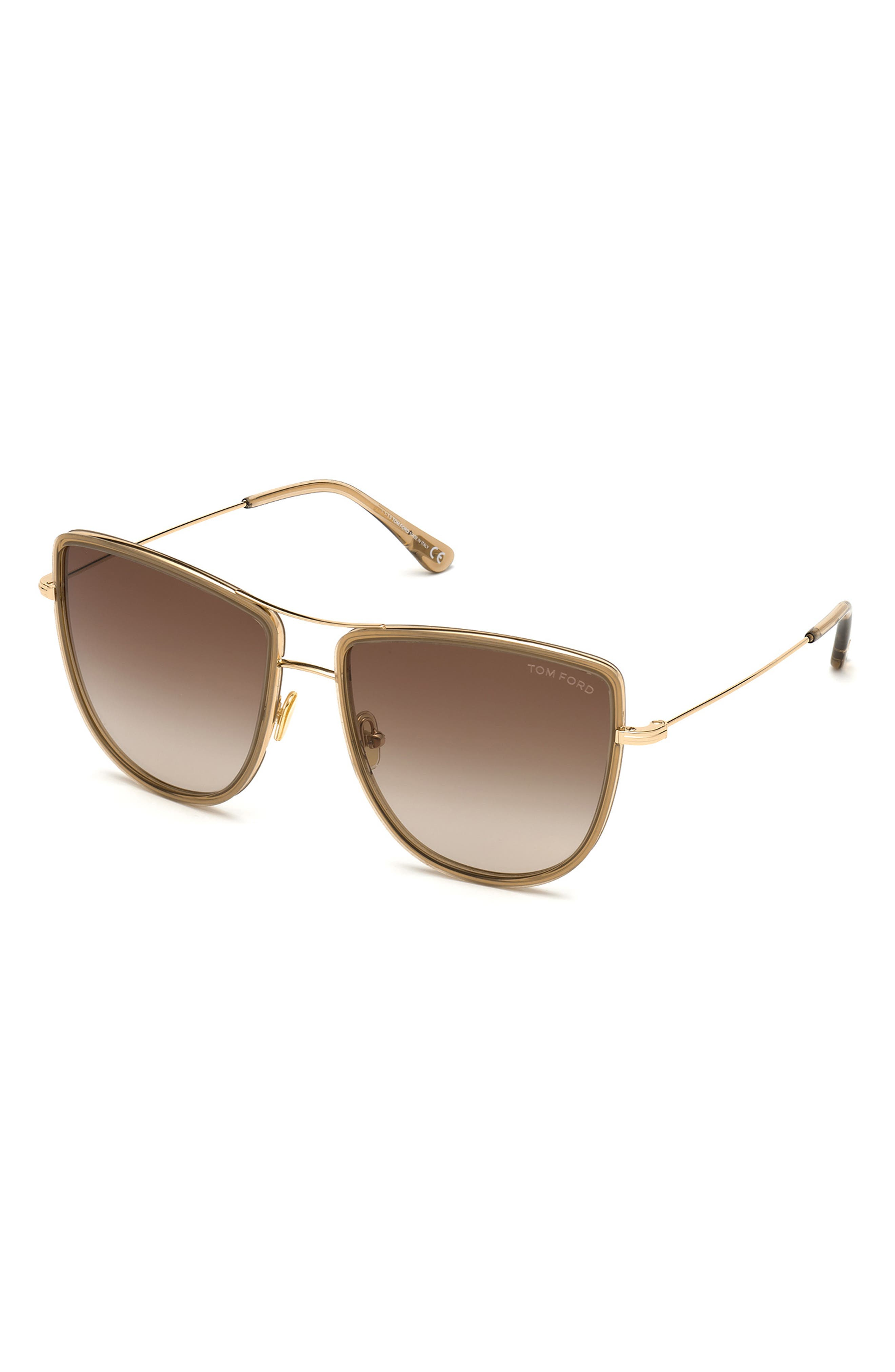 Image of Tom Ford Tina 59mm Aviator Sunglasses