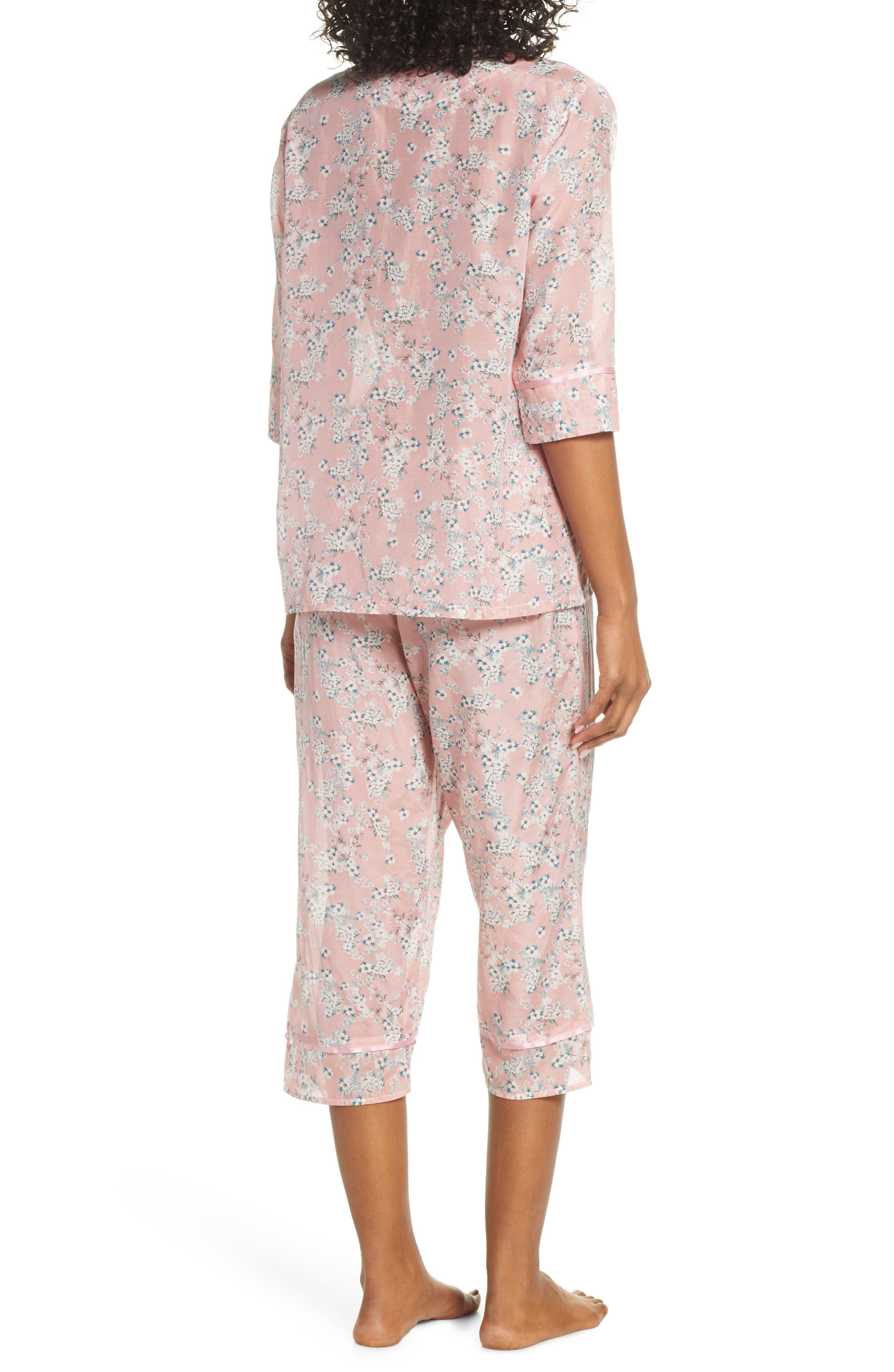 ,                             Isabelle Cotton & Silk Crop Pajamas,                             Alternate thumbnail 2, color,                             DARK PINK