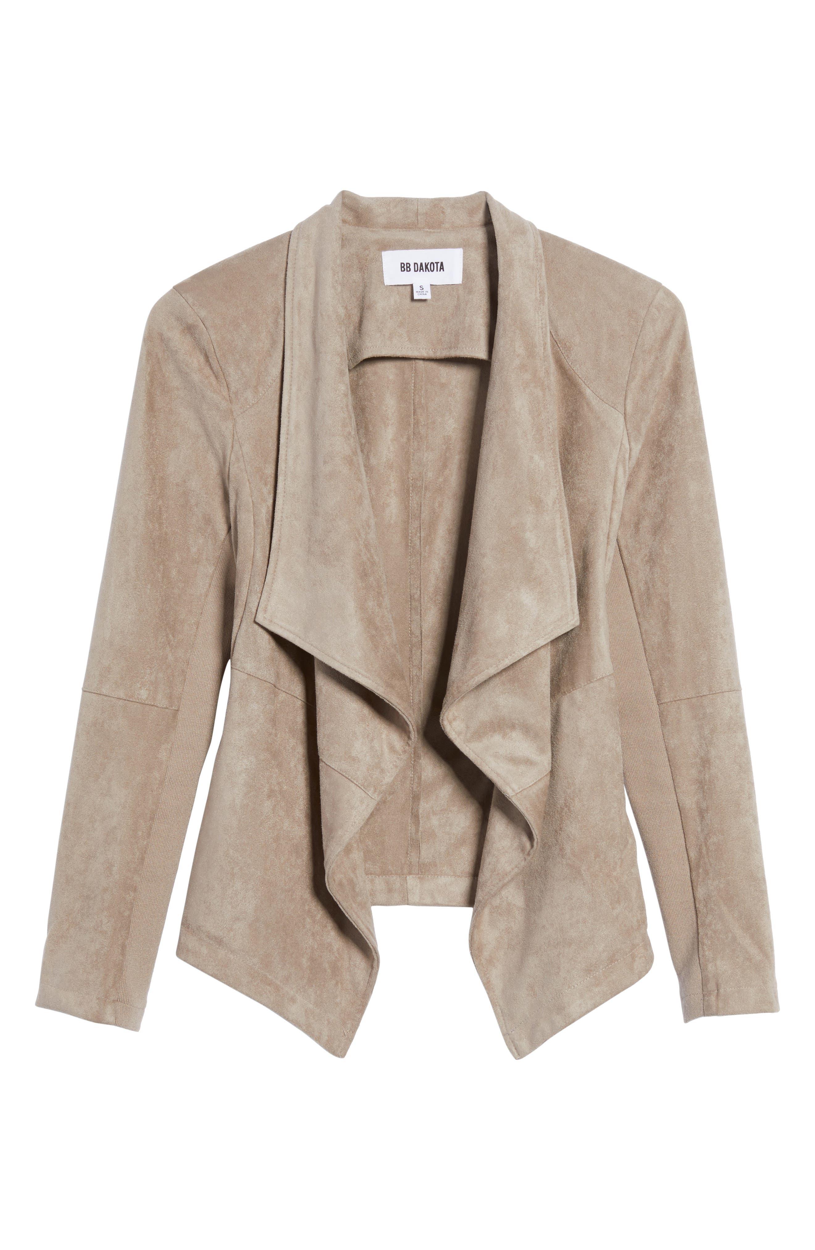 ,                             Nicholson Faux Suede Drape Front Jacket,                             Alternate thumbnail 81, color,                             203