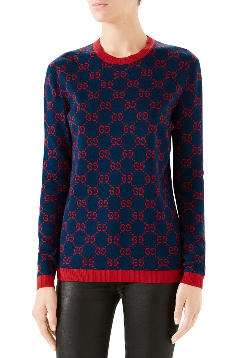 GUCCI GG Logo Jacquard Sweater, Main, color, BLUE/ RED