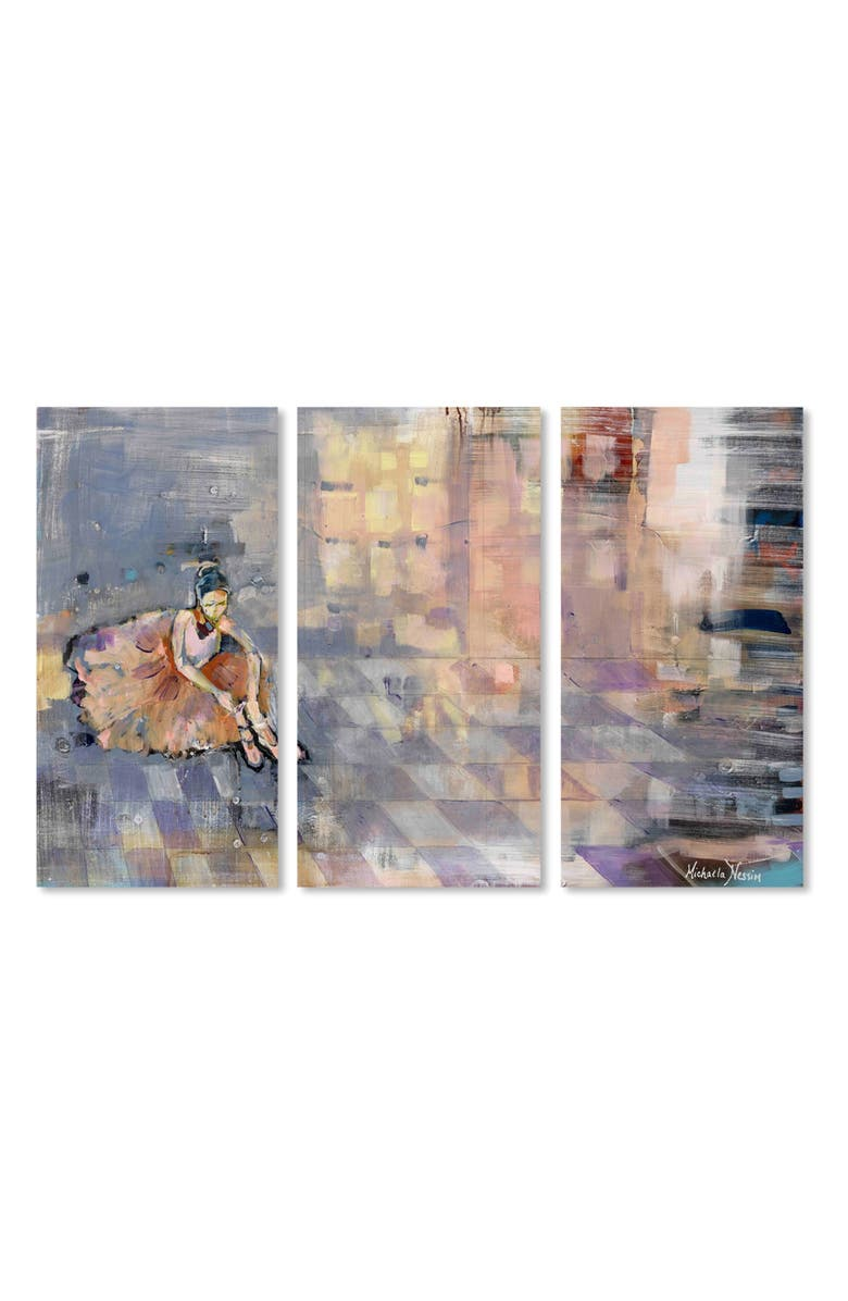 OLIVER GAL Ballerina Canvas Triptych Wall Art, Main, color, GREY