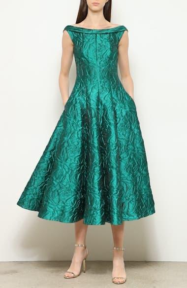 Rose Jacquard Fit & Flare Midi Dress, video thumbnail