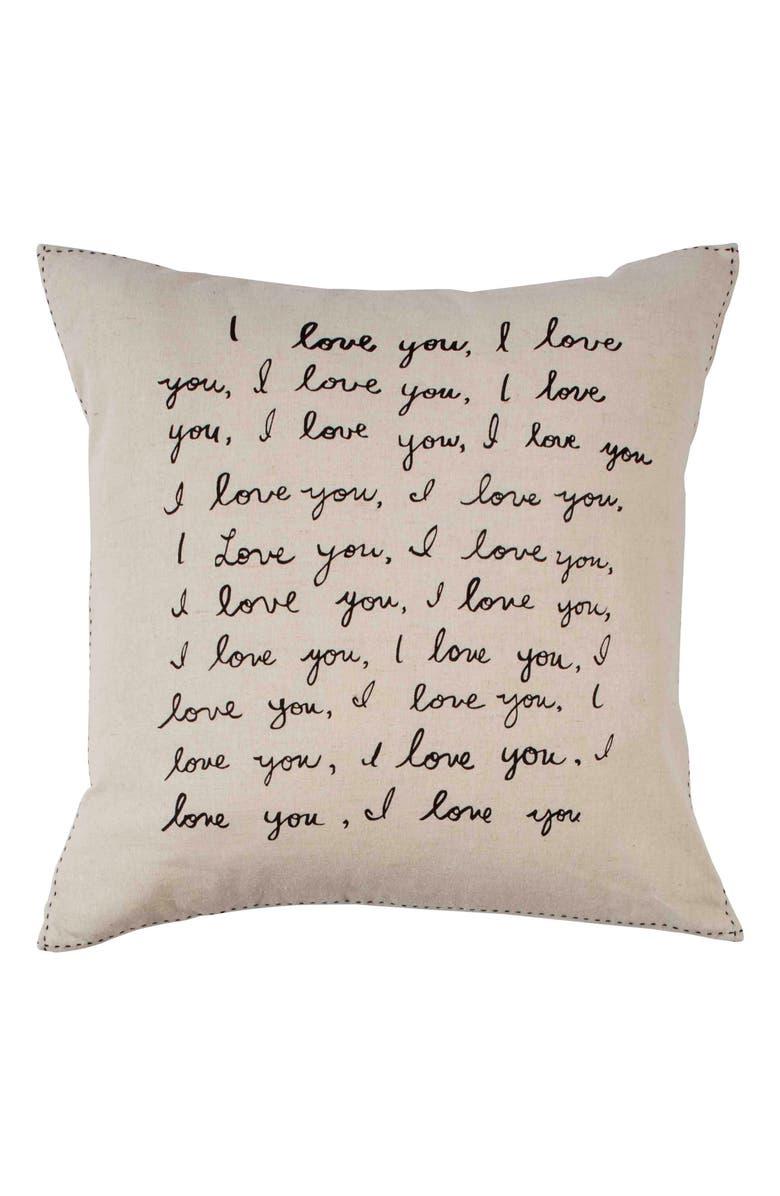 ED ELLEN DEGENERES Tulare - I Love You Accent Pillow, Main, color, 250
