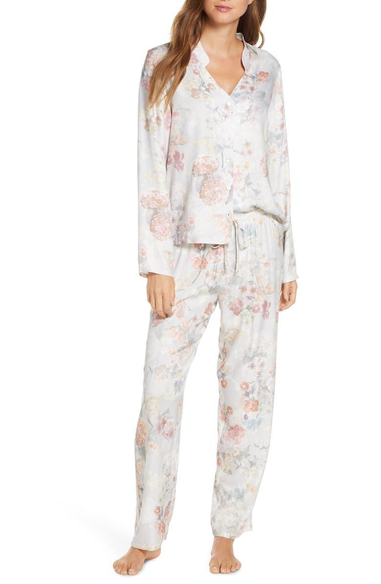 FLORA NIKROOZ Moira Floral Print Twill Pajamas, Main, color, 020
