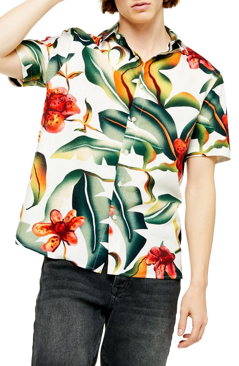 TOPMAN Floral Oversize Short Sleeve Button-Up Shirt, Main, color, GREEN MULTI