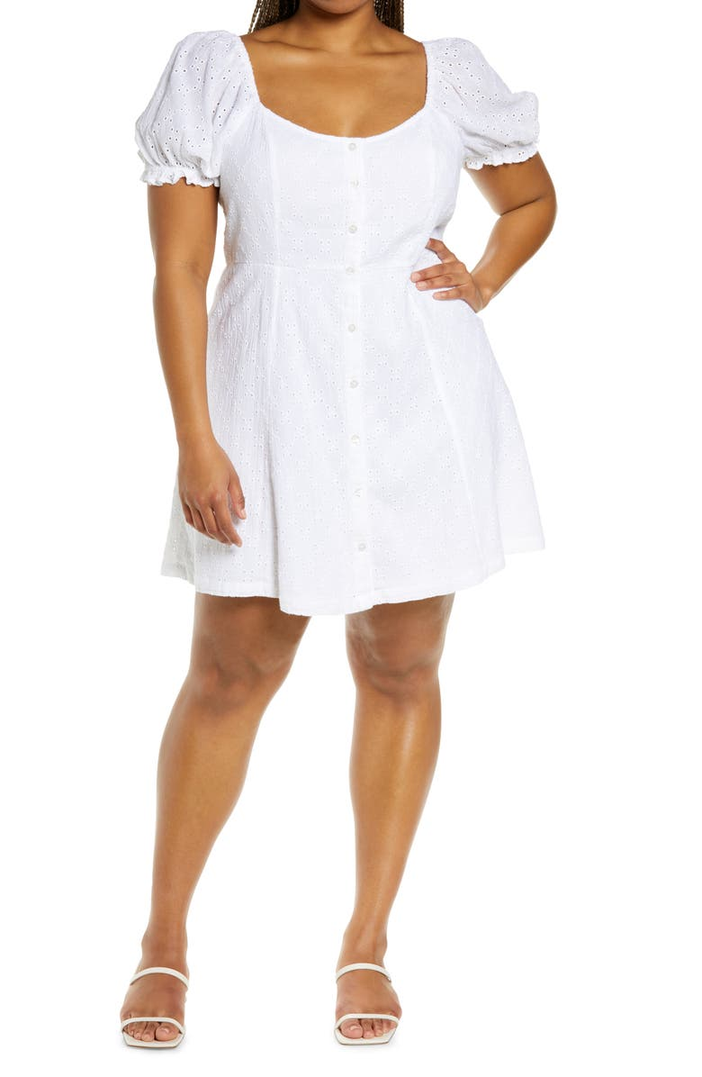 BP. Eyelet Button Front Fit & Flare Dress, Main, color, WHITE
