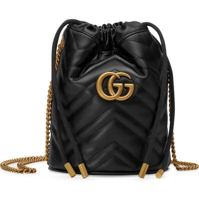 Gucci Mini Gg Marmont 2.0 Quilted Leather Bucket Bag - Black