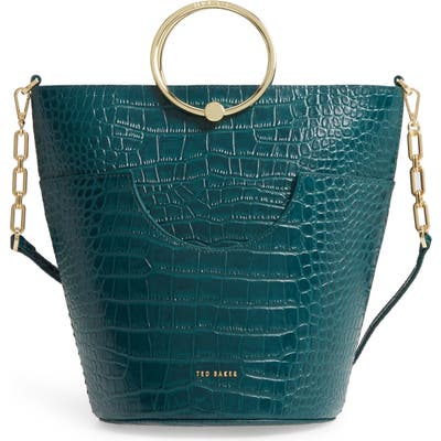 Ted Baker London Ashher Croc Embossed Leather Bucket Bag - Green