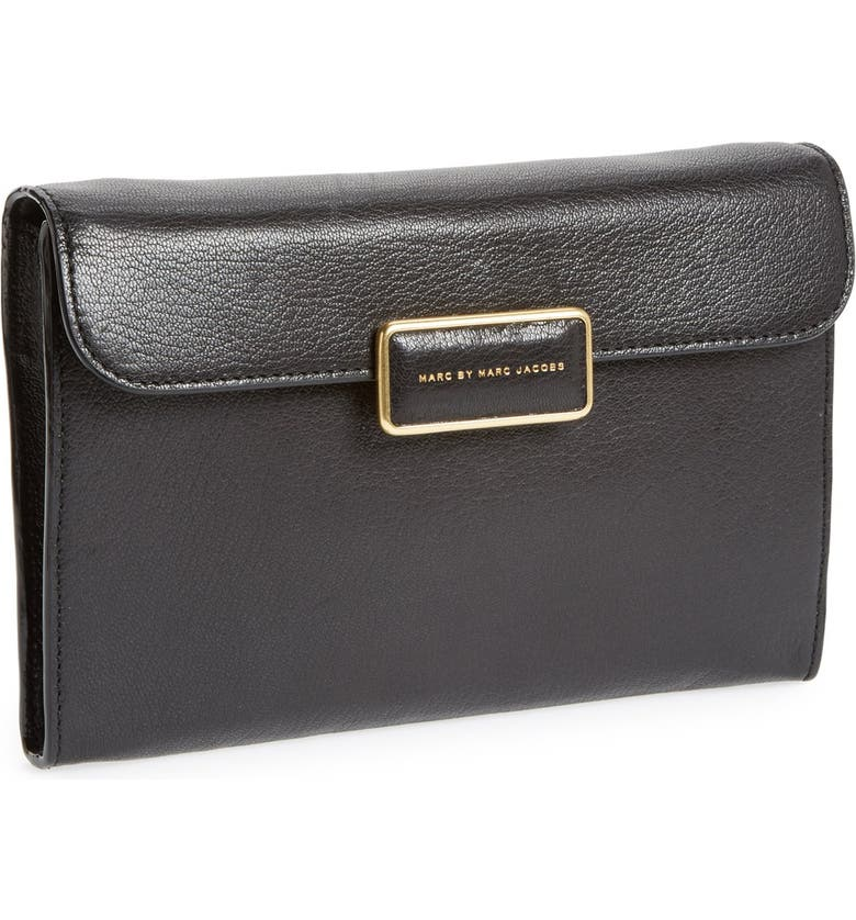 MARC JACOBS MARC by MARC JACOBS 'Pegg' Leather Clutch, Main, color, 001