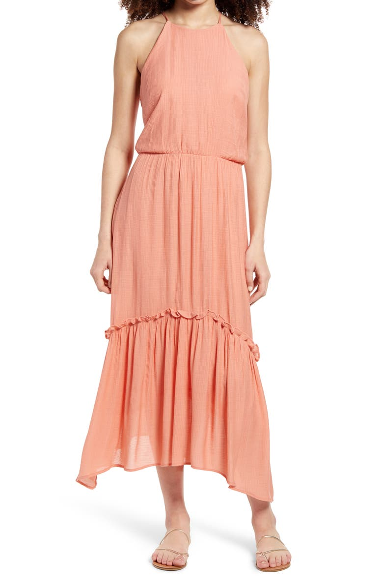ALL IN FAVOR Halter Maxi Dress, Main, color, PINK