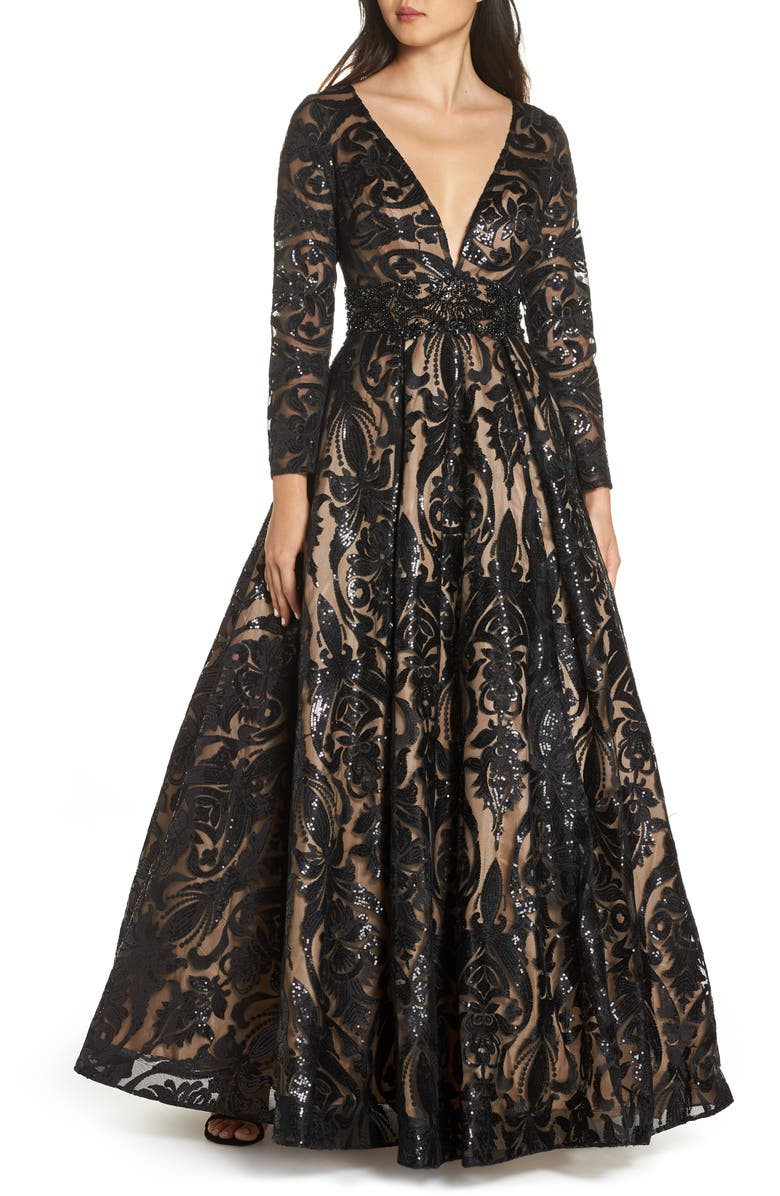MAC DUGGAL Sequin Burnout Paisley Ballgown, Main, color, BLACK