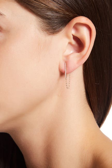 Image of Candela 14K Yellow Gold CZ Bar & Chain Earrings