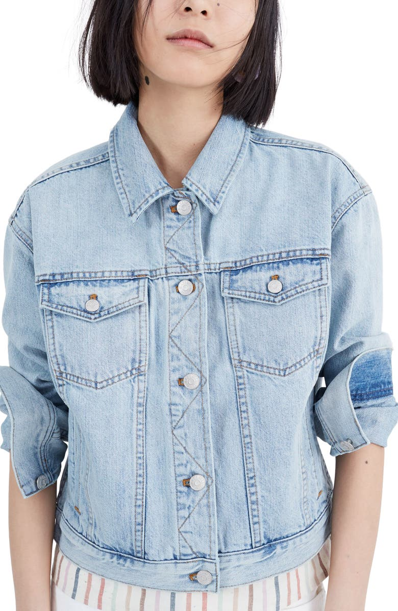MADEWELL The Boxy Crop Jean Jacket, Main, color, 400