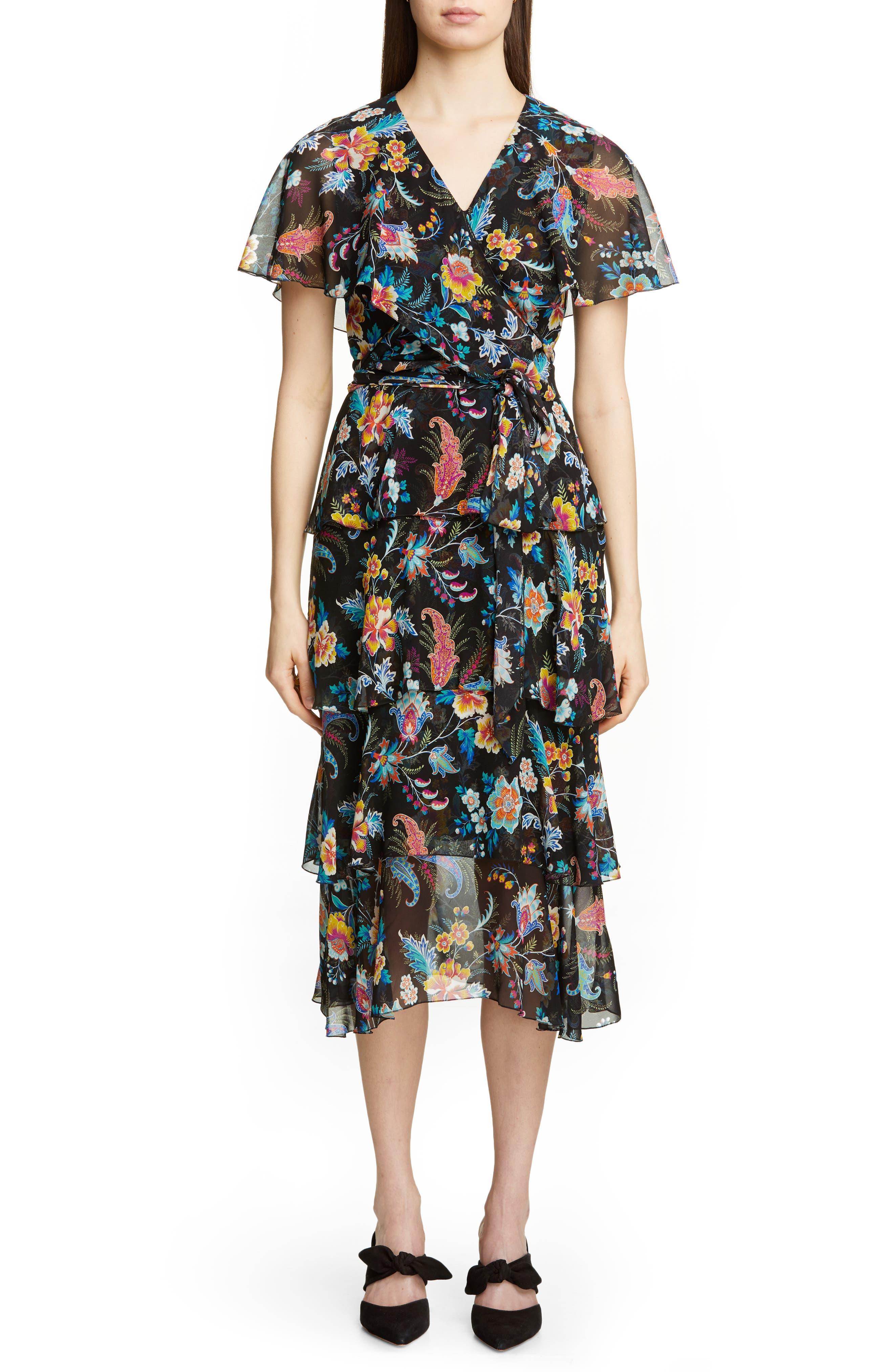 Etro Fern & Floral Print Ruffle Wrap Dress, US / 46 IT - Black