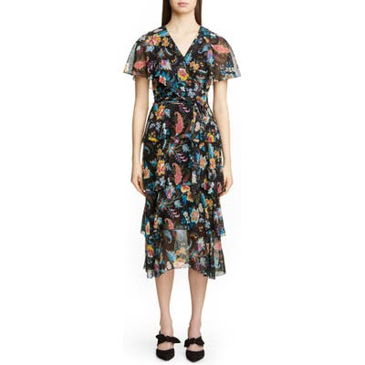 Etro Fern & Floral Print Ruffle Wrap Dress, US / 40 IT - Black